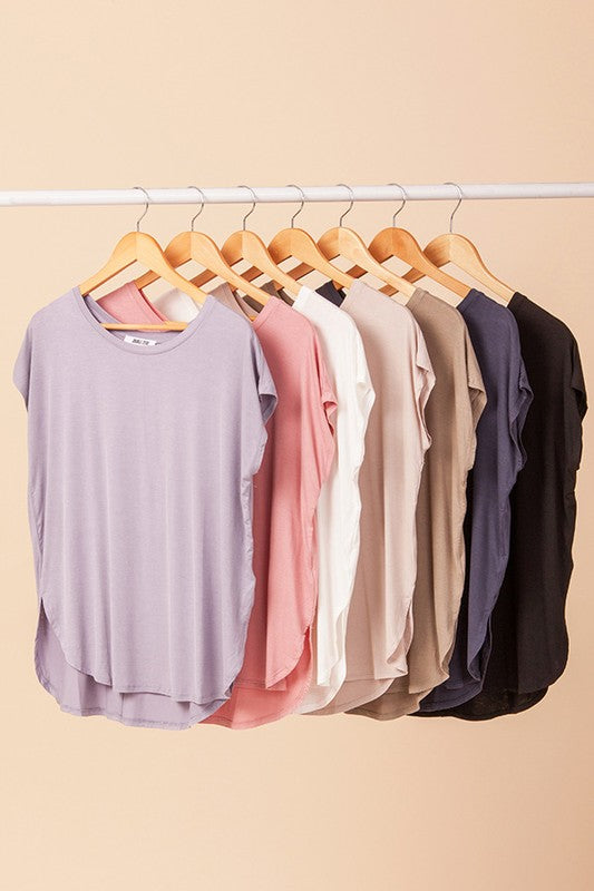 Basic Dolman Curved Hem Top