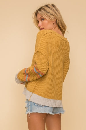Mixed Stripe Notch Sweater