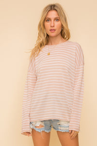 Pinstripe Round Neck Sweater