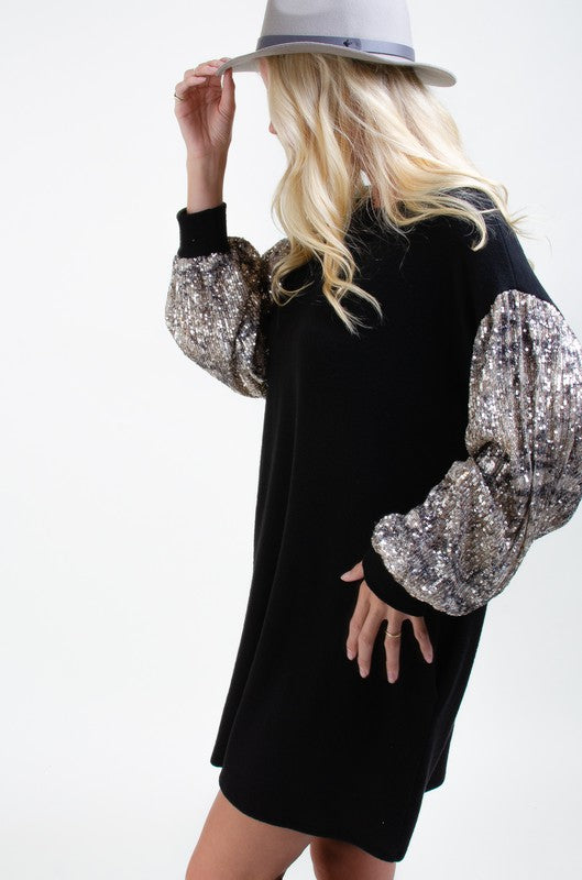 Sequin Sleeves Midi Dress