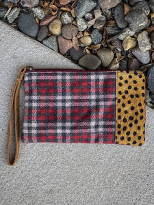 Animal Print and Plaid Wristlet