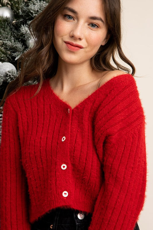 Heart Button Ribbed Cardigan