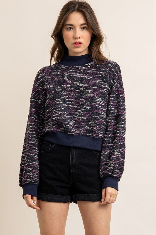 Mixed Knit High Neck Sweater