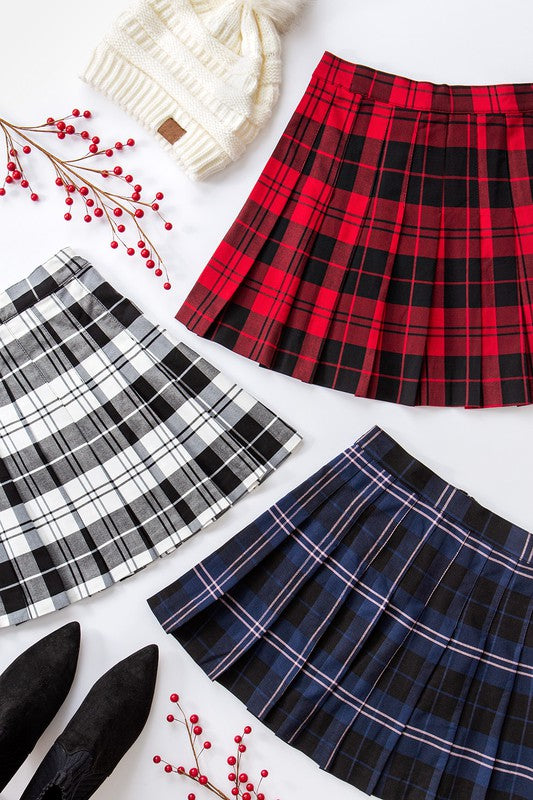 Checkered Pleated Skirt