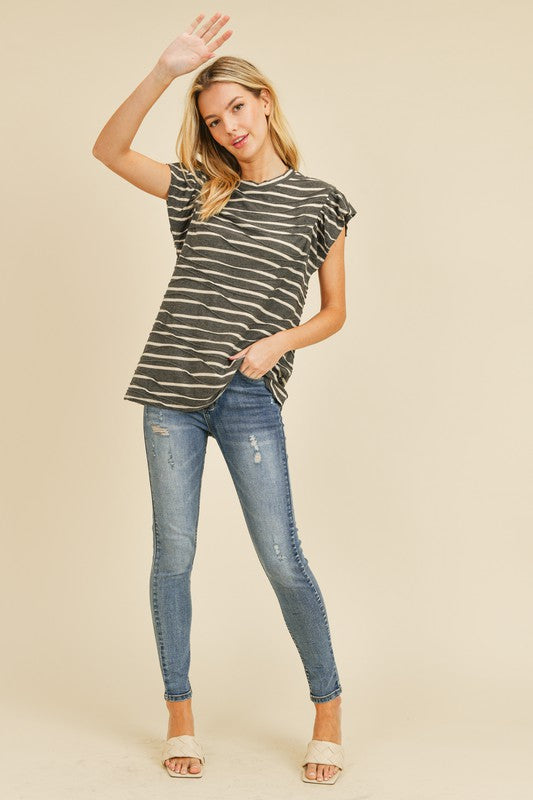 Ruffle Sleeve Striped Top