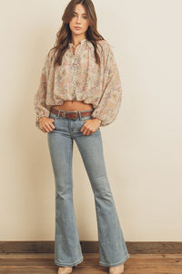 Paisley Button Down Shirred Top