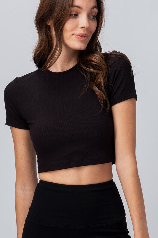 Solid Short Sleeve Crop Top