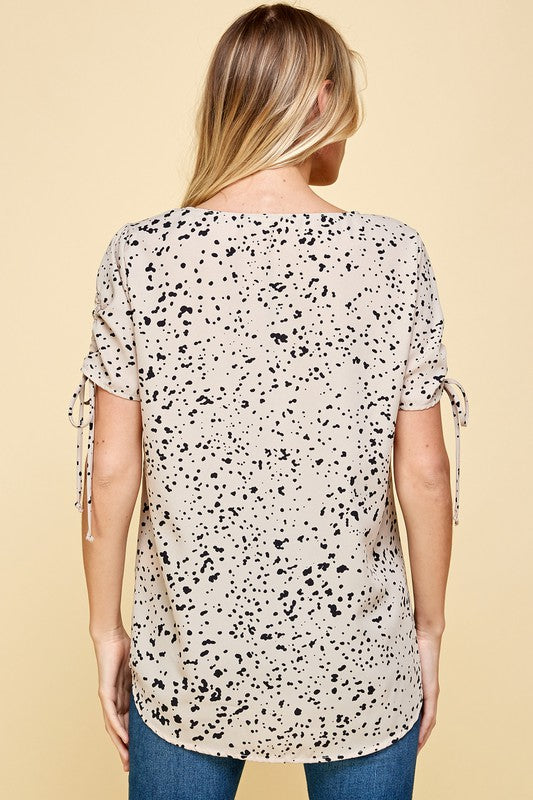 Dotted Top with Ruched Sleeves