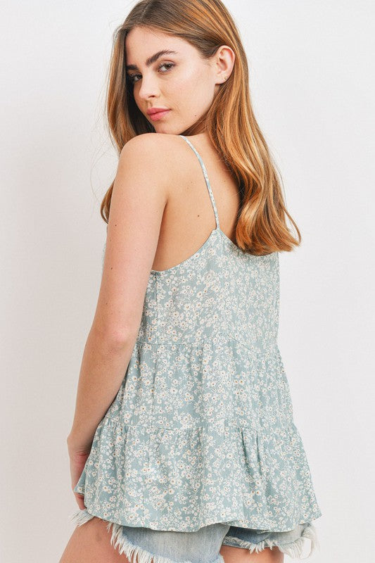 Button Tiered Babydoll Ditsy