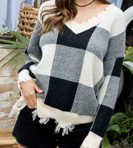 Distressed V Neck Long Sleeve Plaid Sweater