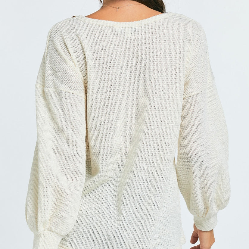 Solid V Neck Long Sleeve Top