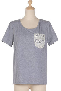 Basics Grey Crochet Lace T-Shirt