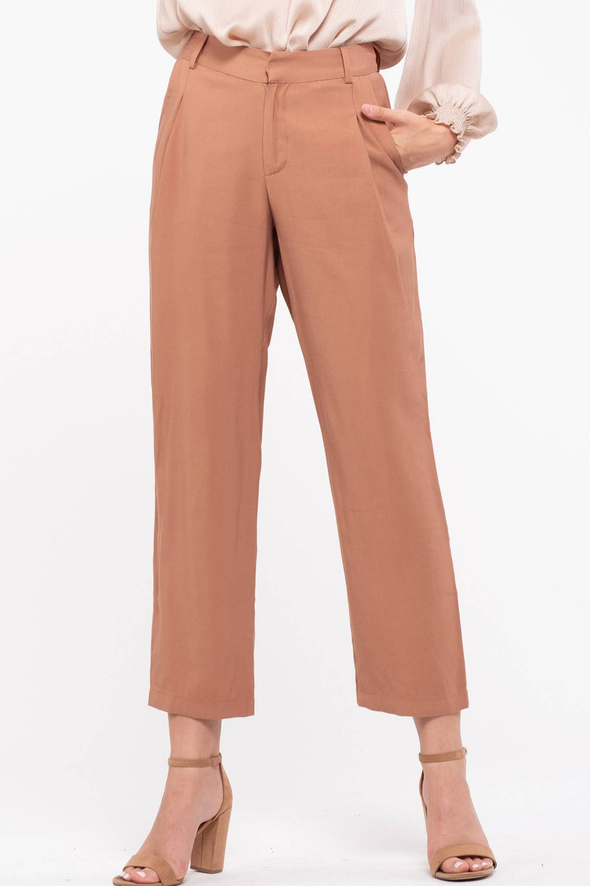 Straight Leg Pleated Pants (final sale item)
