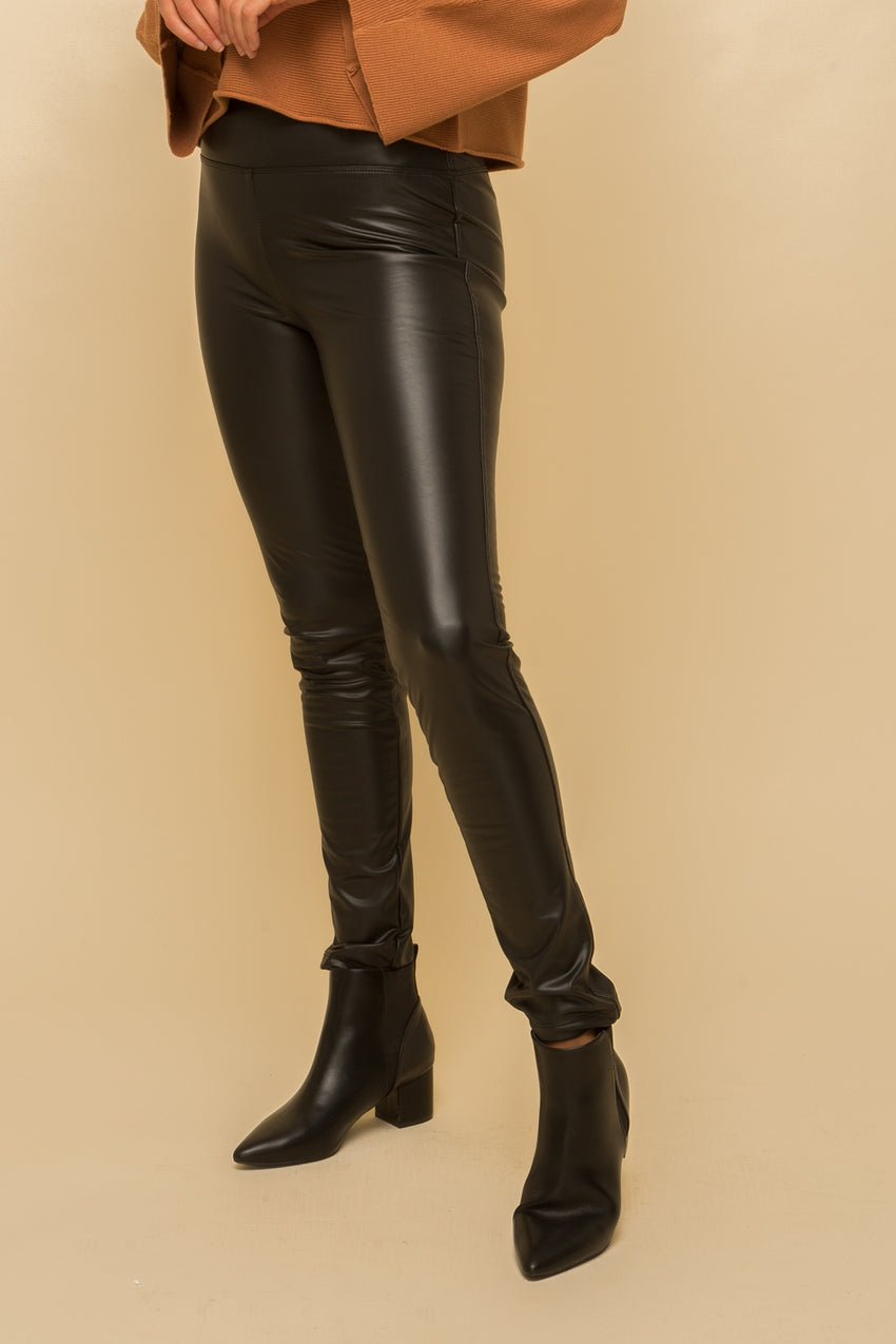 Fleece Lined Faux Leather Pants