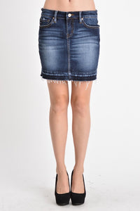 Zuma Frayed Denim Skirt {KC6062D}