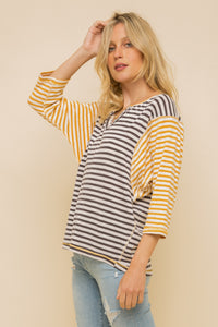 Button Detail Striped Top