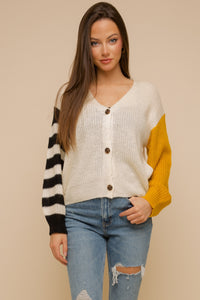 Color Block Stripe Mixed Cardi
