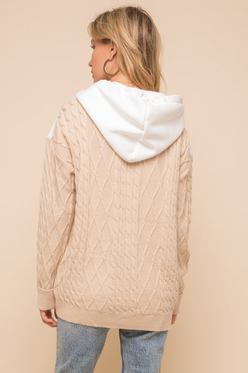 Cable Knit Sweater Hoodie