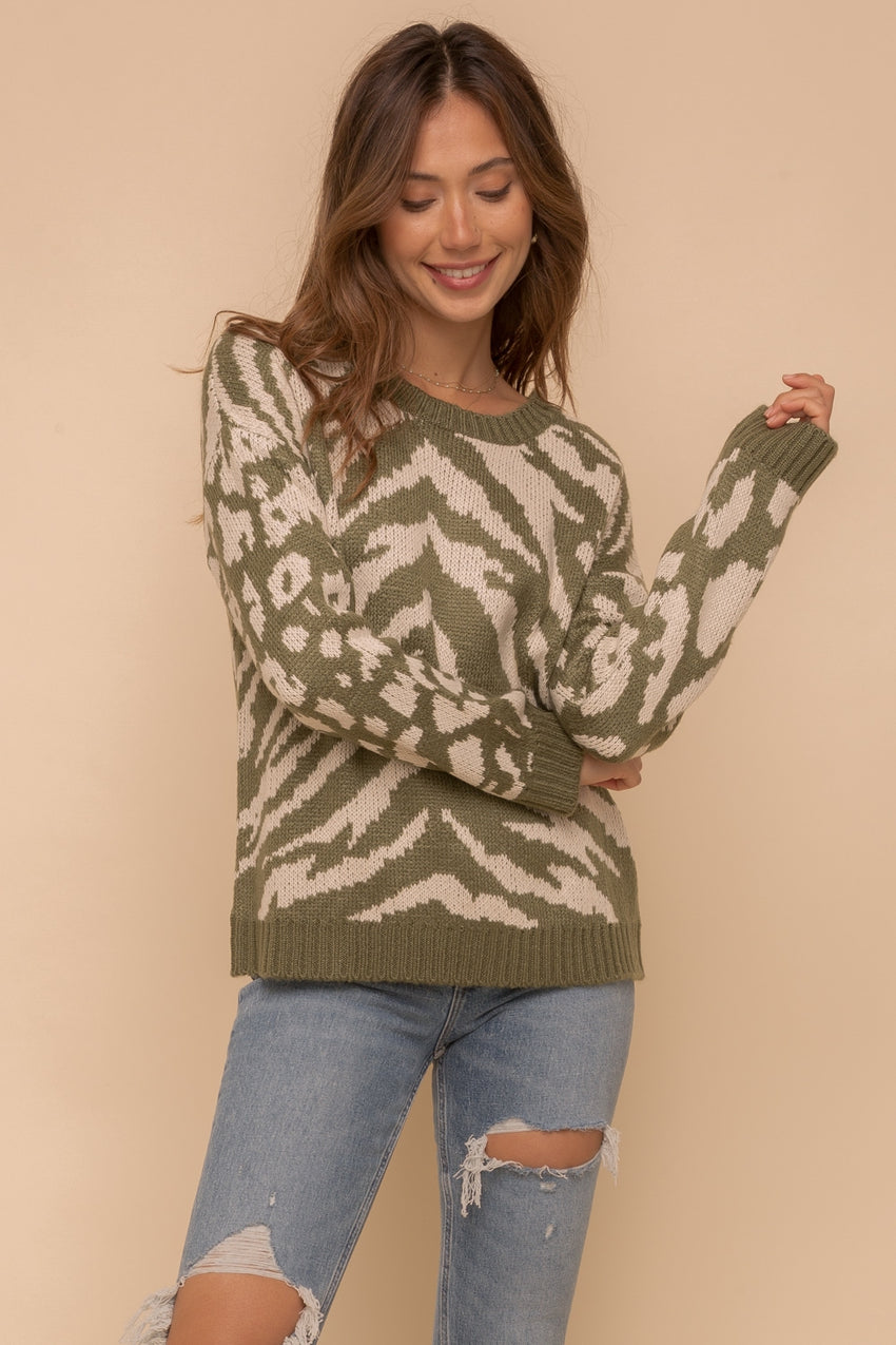 Animal Print Mixed Sweater