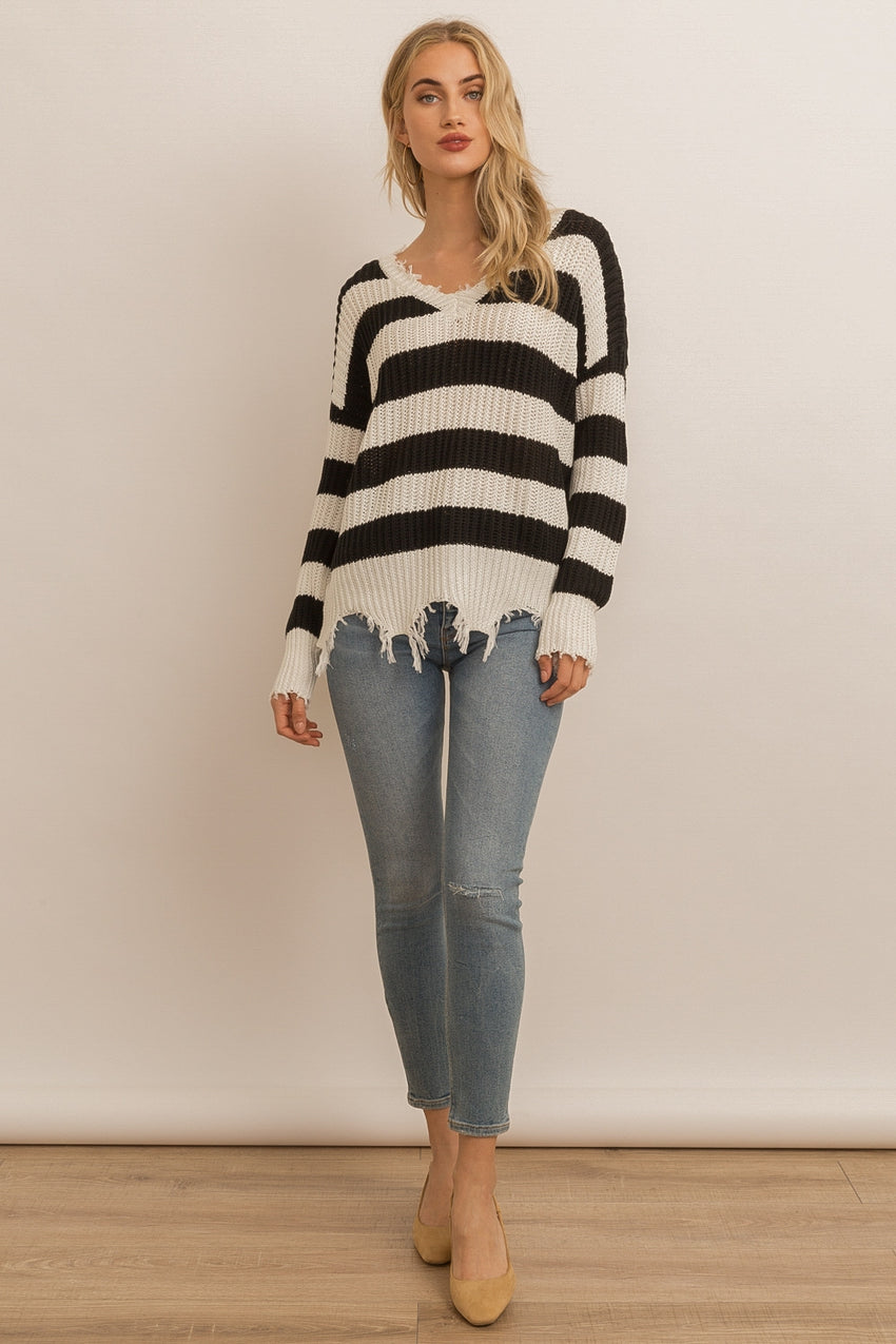 Wide Stripe Destroyed Sweater