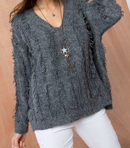 Scoop Neck Long Sleeve Fringe Detail Sweater