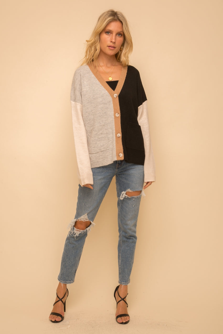 Color Block Boyfriend Cardigan