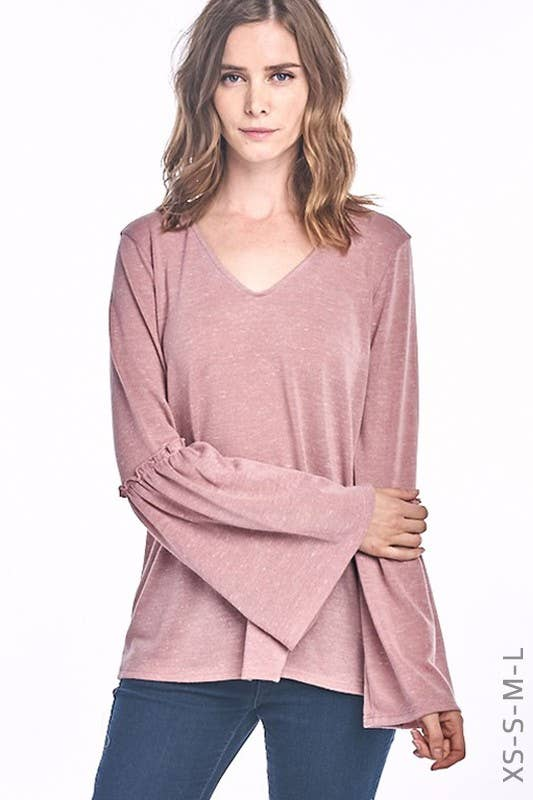 Bell Sleeve Hacci V-neck Top
