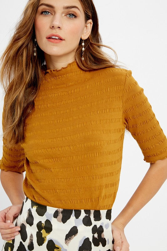 Ribbed and Ruffled Smock Top