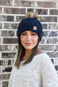Chenille Fleece Lined Hat