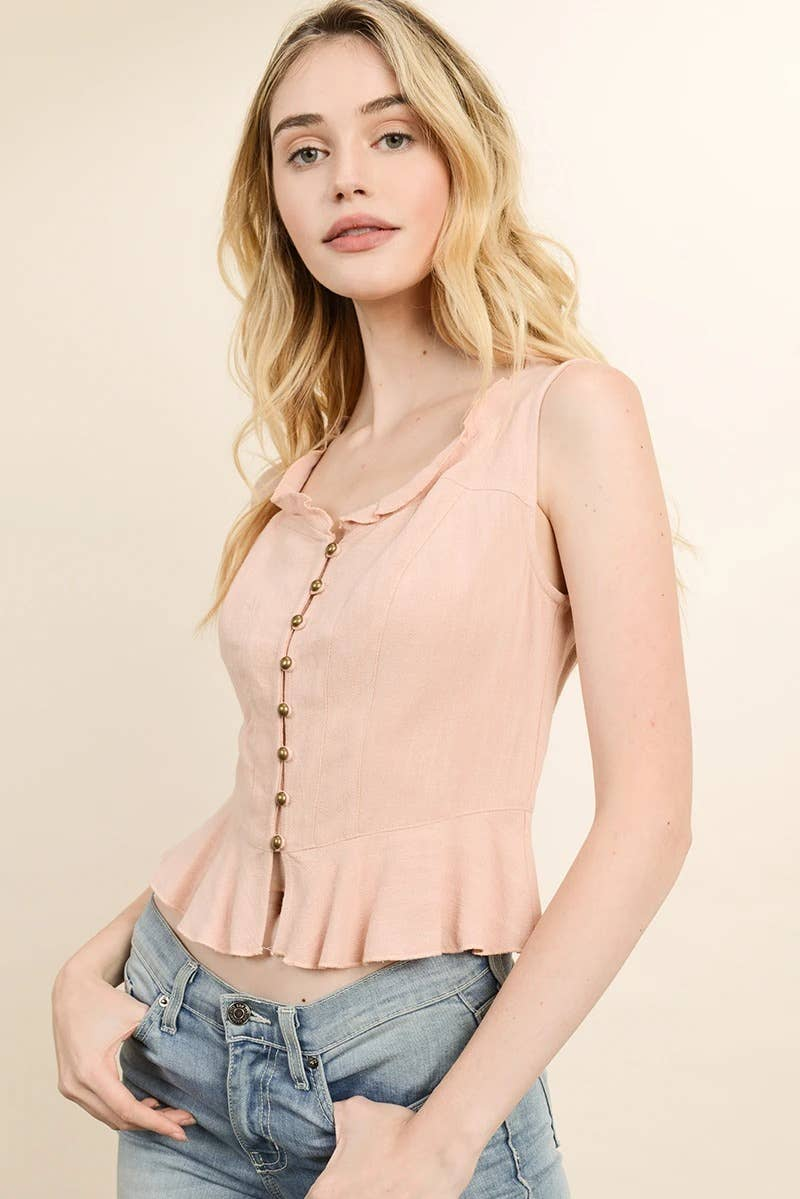 Western Button-Down Linen Top