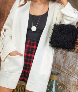 Long Side Detail Sleeve Front Pocket Cardigan
