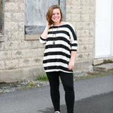 Dolman Sleeve Striped Knit Top