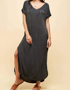 Garment Dye washed Solid Maxi Dress final sale