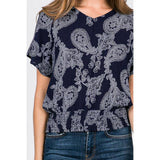 Smocking Hem Paisley Top