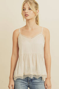 Washed Satin Lace Shirred Cami Top