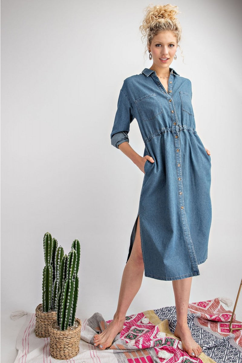 Connie Washed Denim Midi Dress