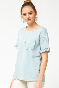 Emely Ruffle Pocket Top