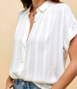 Texture Woven Button Down Blouse
