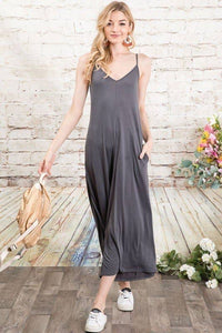 Solid Cropped  Cami Jumpsuit