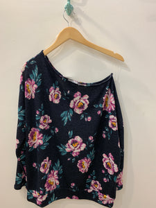 One Shoulder Floral Knit Top