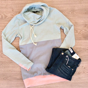 CowlNeck Sweatshirt - ColorBlock Seabreeze