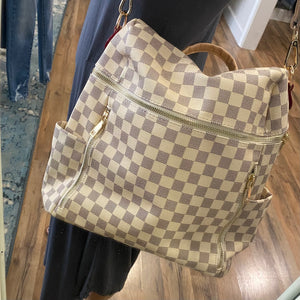 Horizontal Checkered Convertible Backpack