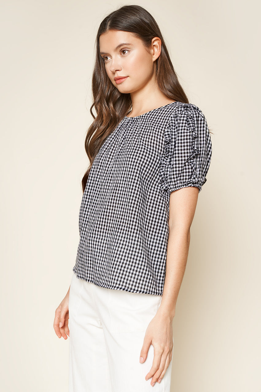 Gingham Puff Sleeve Top
