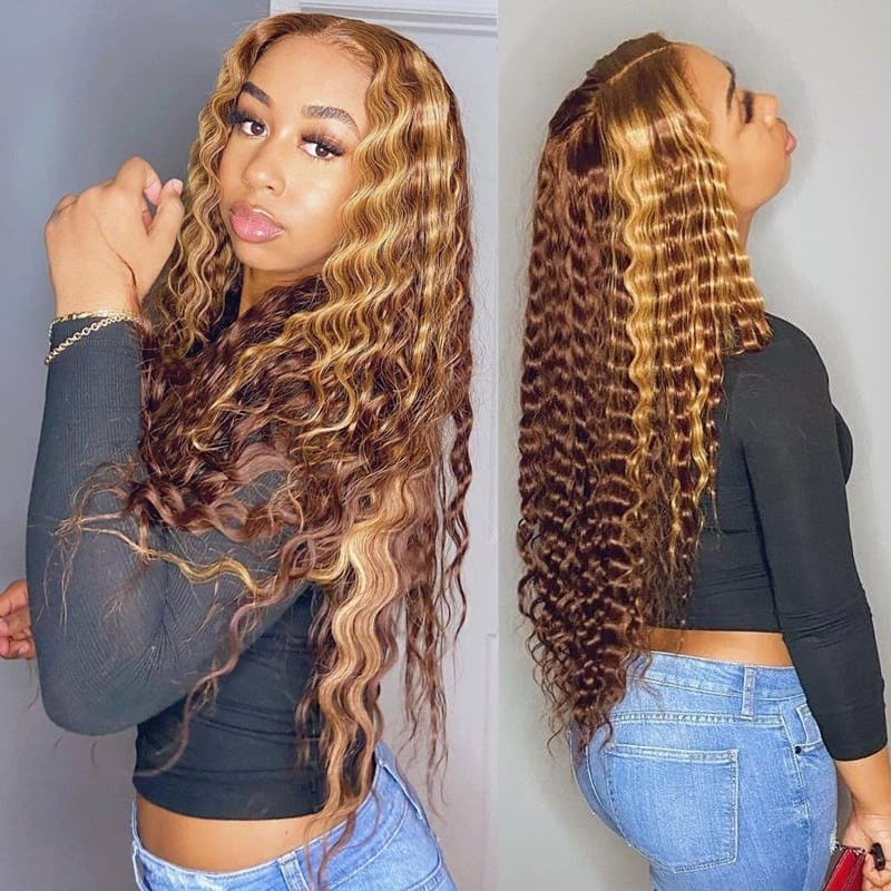 Honey Blonde Deep Water Wave HD Highlight Lace Front Wigs