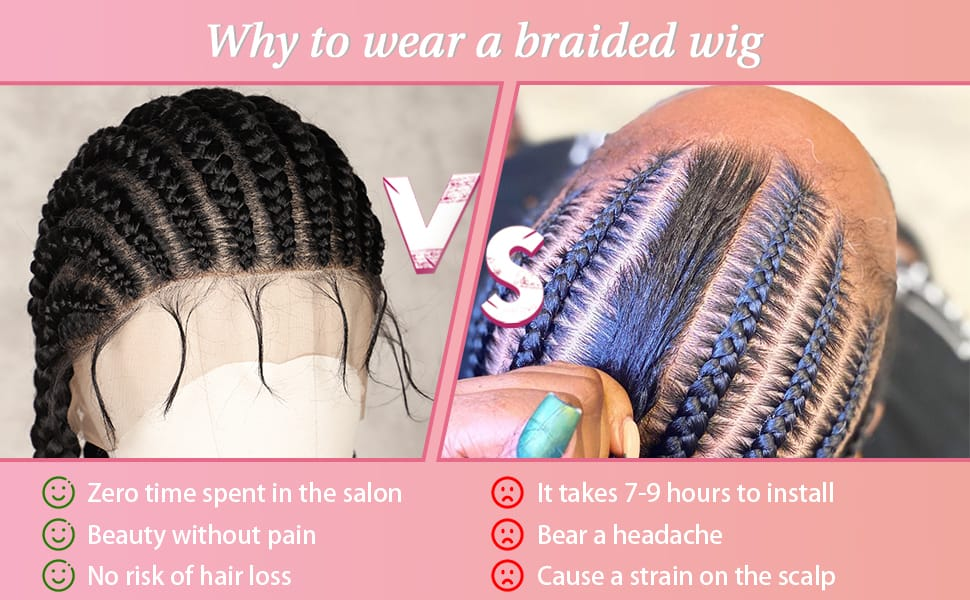 Full Lace Braided 33 Rough Box Braid Wig With Baby Hair