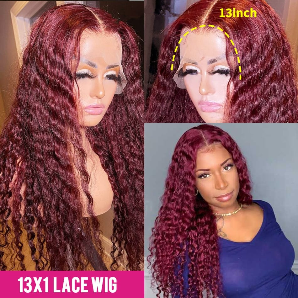 30 Inch Burgundy Deep Wave Lace Front Human Hair Wigs