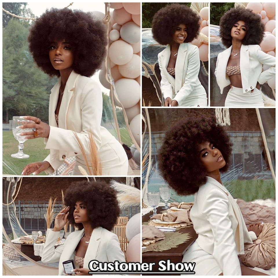 Short Afro Kinky Wigs With Bangs