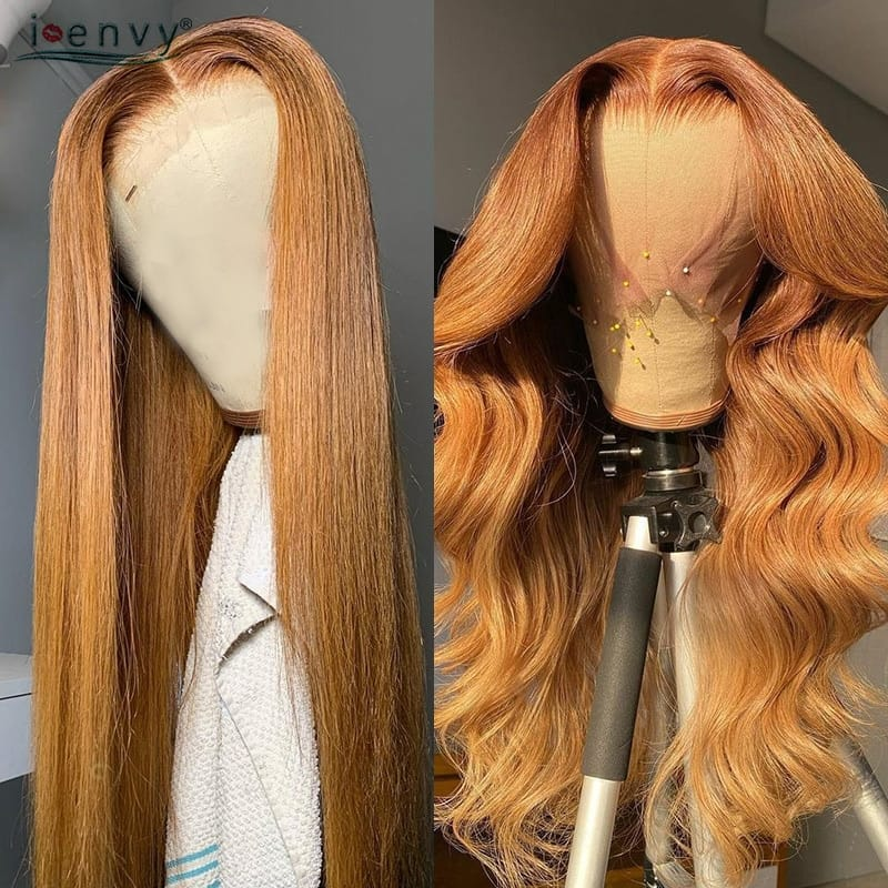 Body Wave Transparent Lace Frontal Wigs Peruvian Ginger Lace