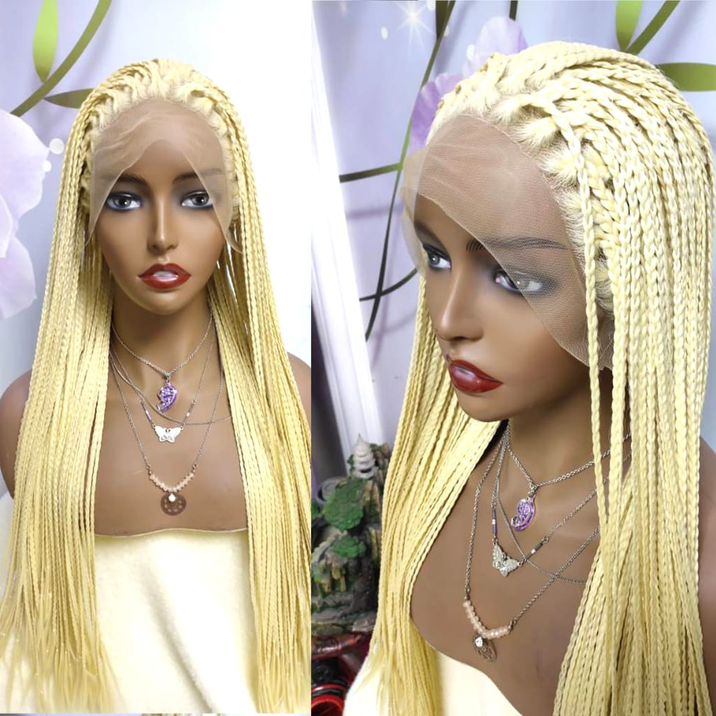 613 Golden Braided Box Braids Wig Long Synthetic Lace Front
