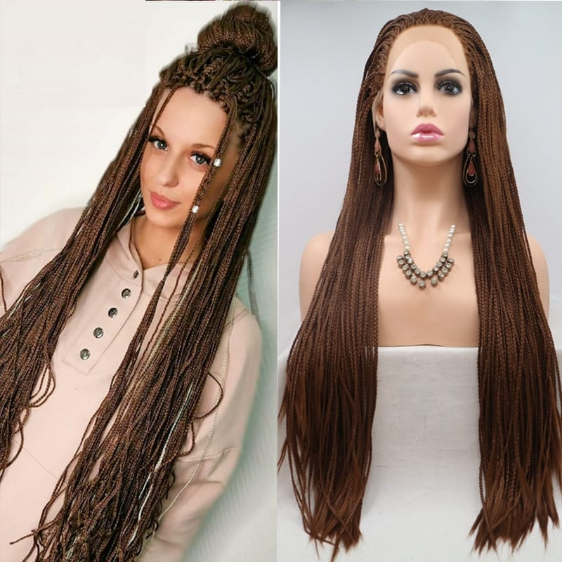 99J 26 Inch Braided Lace Front Wigs Synthetic Straight Box